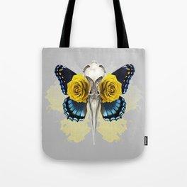 Bird skull and yellow roses Tote Bag