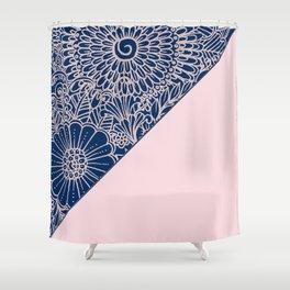Blush pink navy blue hand drawn modern floral Shower Curtain