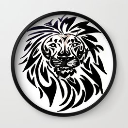 Lion face black and white Wall Clock