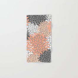 Floral Pattern, Coral, Gray, White Hand & Bath Towel