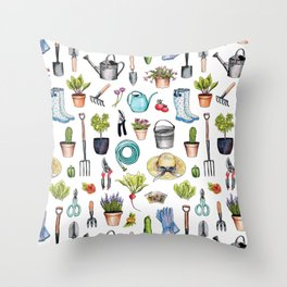 Garden Gear - Spring Gardening Pattern w/ Garden Tools & Supplies Throw Pillow