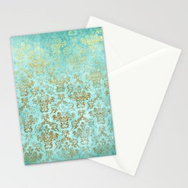Mermaid Gold Aqua Seafoam Damask Stationery Cards