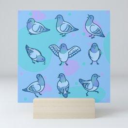 Playful Pigeons Mini Art Print