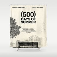 shipping Shower Curtains featuring (500) Days of Summer by Martin Lucas