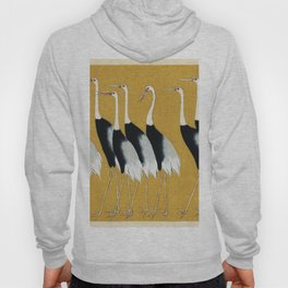 A traditional portrait of a flock of beautiful Japanese red crown crane by Ogata Korin (1658-1716) Hoody