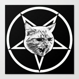 Catagram - Cat Face On Pentagram White on Black Canvas Print
