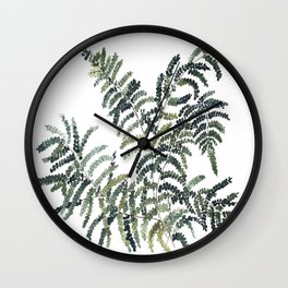 Woodland Fern Botanical Watercolor Illustration Painting Wall Clock