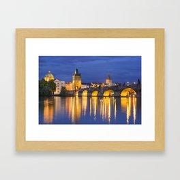 The Charles Bridge in Prague, Czech Republic at night Framed Art Print