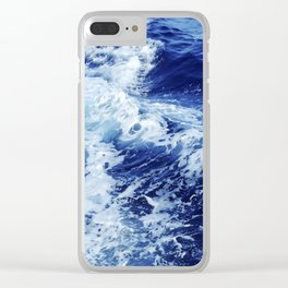 Ocean Waves Blue Water Painting Clear iPhone Case