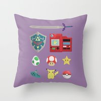 video games Throw Pillows featuring video games by Black