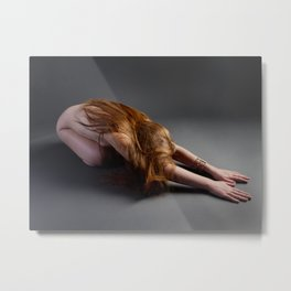 1727-PDJ Nude Redhead Bowing Down Hands Out Metal Print