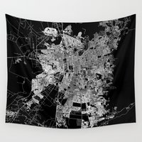 chile Wall Tapestries featuring Santiago map Chile by Line Line Lines