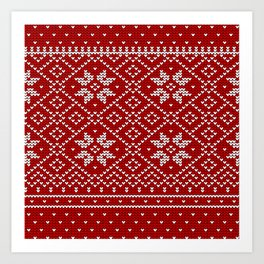 Christmas Snowflake Wool Pattern Art Print