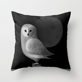 Barn Owl Full Moon Throw Pillow