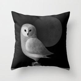 Barn Owl Full Moon Throw Pillow