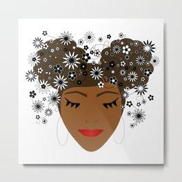 African American Flower Goddess Metal Print