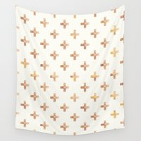 rose gold Wall Tapestries featuring Rose Gold Pattern by Jenna Davis Designs