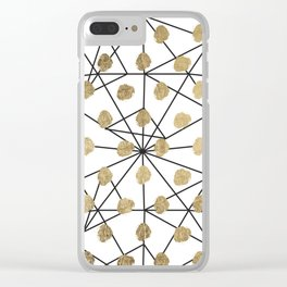 Black faux gold geometrical chic polka dots Clear iPhone Case