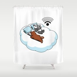 Panda and Grizzly Bear On The Cloud Shower Curtain