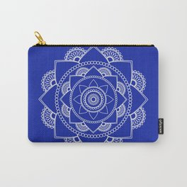 Mandala 01 - White on Royal Blue Carry-All Pouch