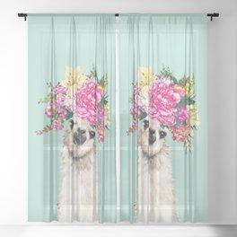 Flower Crown Llama in Green Sheer Curtain
