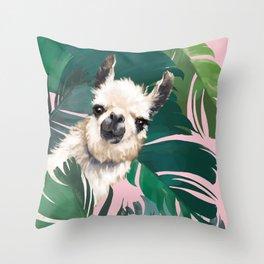 Llama with Banana Leaves Throw Pillow