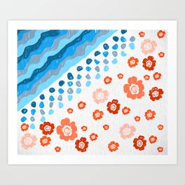 Flowers with blue waves on the bank Art Print