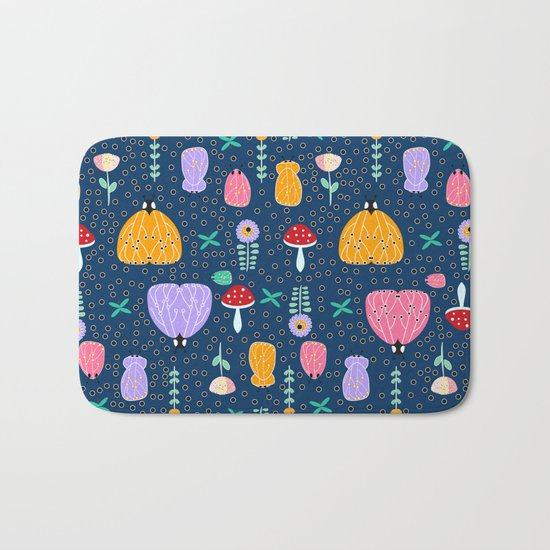 Insects at night Bath Mat