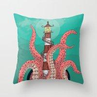 sleep Throw Pillows featuring Sleep by Arron Croasdell