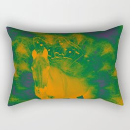 Pegasus emerging from a surreal mandala landscape Rectangular Pillow