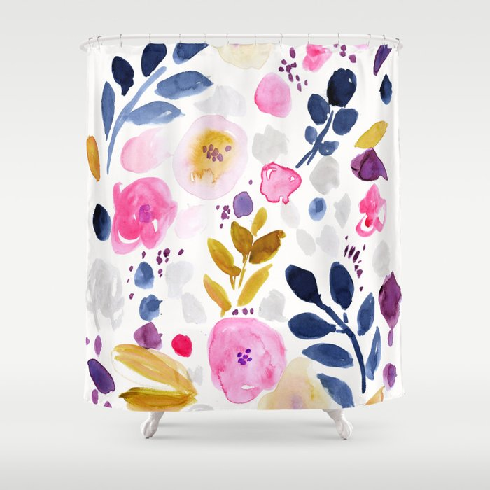Pink Affair Floral Shower Curtain by crystalwalen | Society6