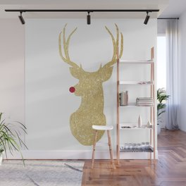 Rudolph The Red-Nosed Reindeer | Gold Glitter Wall Mural
