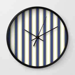 Hamptons Blue White and Gold Yacht Stripes Wall Clock