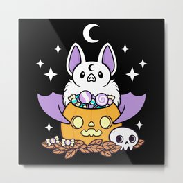 Pumpkin Bat // Black Metal Print