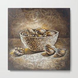 Eurika bowl of nuts, walnuts painting, still life Metal Print