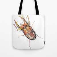 beetle Tote Bags featuring Beetle by Cherry Virginia