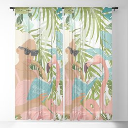 How To Become a Flamingo #illustration Sheer Curtain