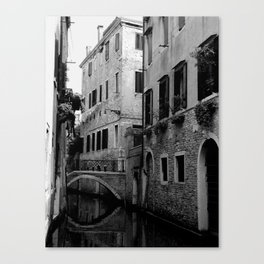 Venetian canal in black and white Canvas Print