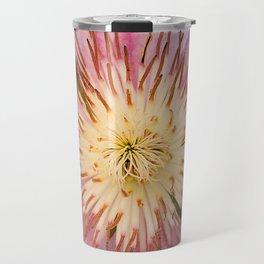 Sugar-Pink Flower Design Travel Mug