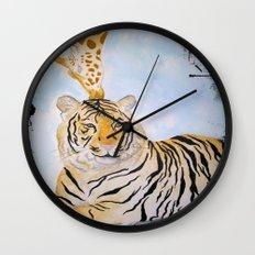 Giraffe Kissing Tiger Wall Clock