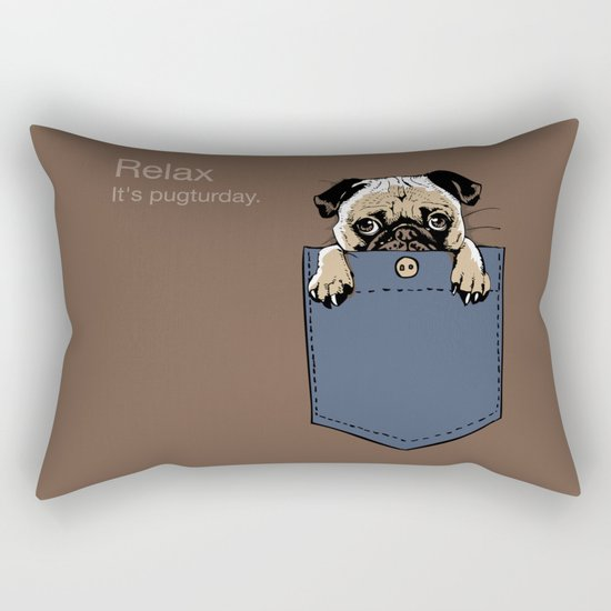 Pugturday Rectangular Pillow