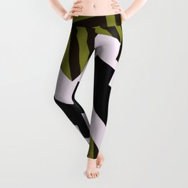 Bold Stripes - Black and white, brown and khaki stripes, abstract geometry Leggings