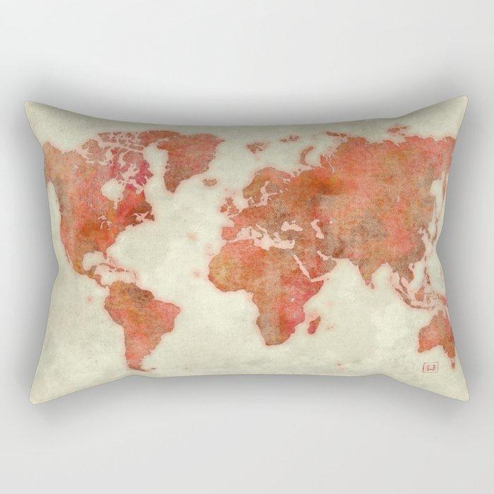 World Map Red Rectangular Pillow