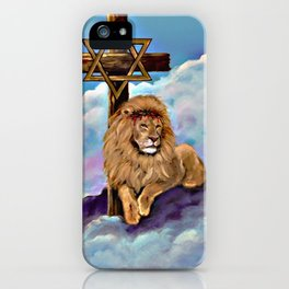 Lion of Judah at the Cross iPhone Case