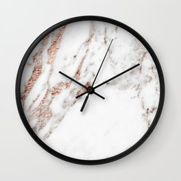 Rose gold foil marble Wall Clock