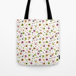 I love Cats - Cat Lovers Heart Flower Meadow - Pink & Spring Green Feline Meow Tote Bag
