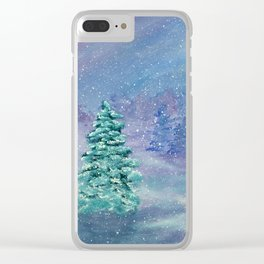 Winter, Landscape, Snow, River, Fir Trees, Christmas Clear iPhone Case