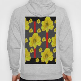 YELLOW AMARYLLIS BLACK-RED DECO ART Hoody