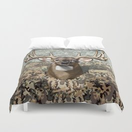 Whitetail Buck and Camo Duvet Cover
