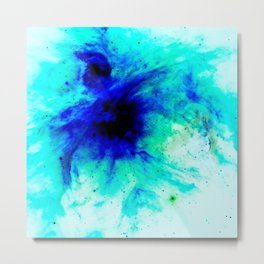 Orion Nebula Bright Blue Aqua Metal Print